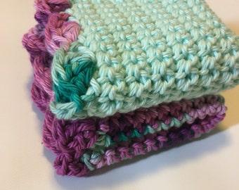 Soft washcloth set of 2, Mulberry and Mint washcloth set