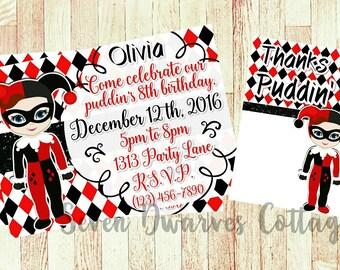 Personalized Harley Quinn inspired Birthday Invitation, Harlequin invite, print at home,  custom invitation, puddin,