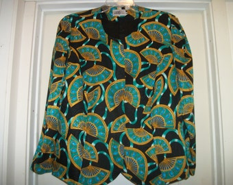 Vintage 80s LOVELY EXOTIC SILK Fans Blouse, w Shoulder Pads and Covered Buttons. Blousey Sleeves, 16