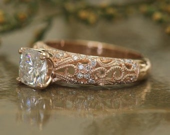 Art Deco Style 1ct Cushion Cut Forever One Moissanite Engagemetn Ring in 14k Rose Gold, Intricate Scroll, Filigree and Milgrain, Ashlyn B