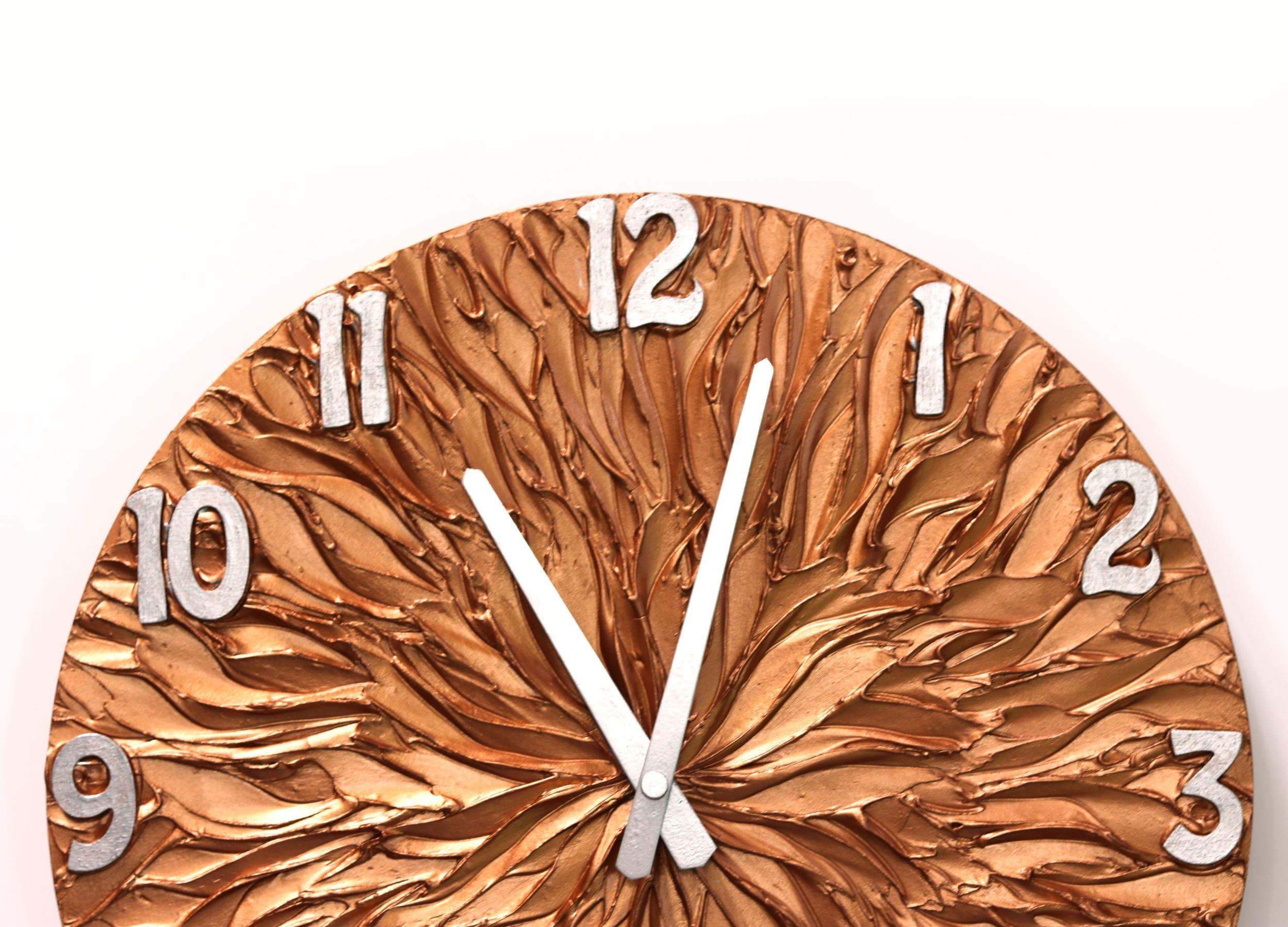 large wall clock copper wall clock copper and silver original. Black Bedroom Furniture Sets. Home Design Ideas