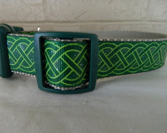 St Patrick's Day Emerald and Green Celtic Knot Dog Collar