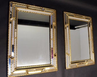 Mid Century Modern Pair of Maitland Smith Mirrors Gold Gilt Hollywood Regency