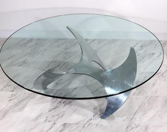 Mid Century Modern Aluminum Chrome Propeller Base Glass Coffee Table Hesterberg