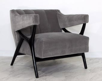 Mid Century Modern Italian Sculptural Gray Velvet Lounge Arm Chair Parisi Style
