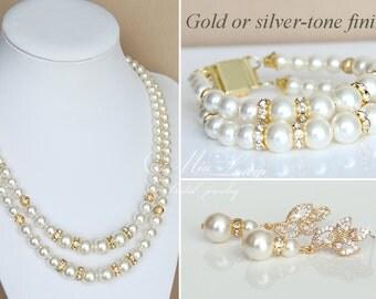 Gold Bridal Jewelry set, Wedding Necklace set, Bridal Necklace set, Wedding set gold Ivory Pearl Bridal Set, Bridal jewelry art. e41-b03-n03