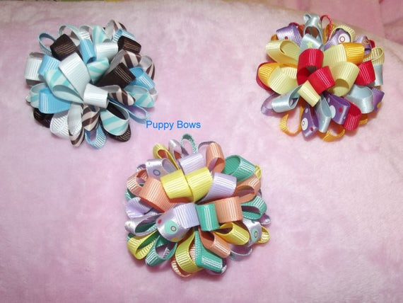 Puppy Bows ~ Fun multi loop puff hair bows PEACH TURQUOISE CHOCOLATE  barrette or bands pet dog bow