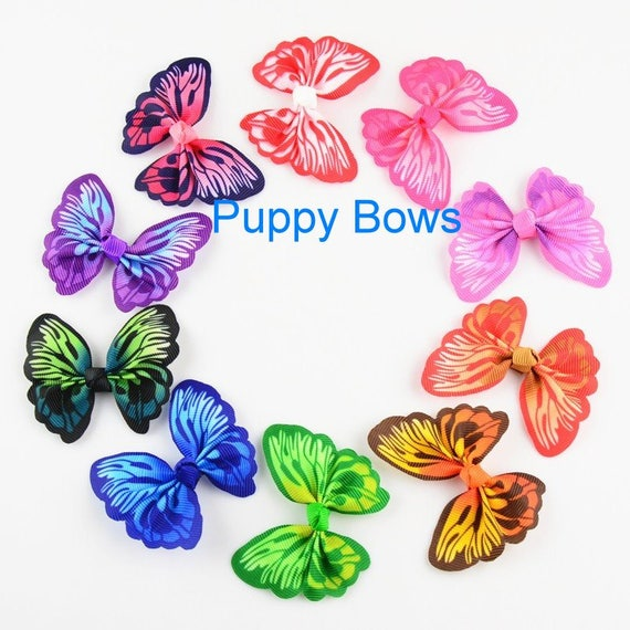 Puppy Bows ~ Vibrant multicolor butterfly pet dog hair clip barrette or latex bands ~Usa seller  (fb39)