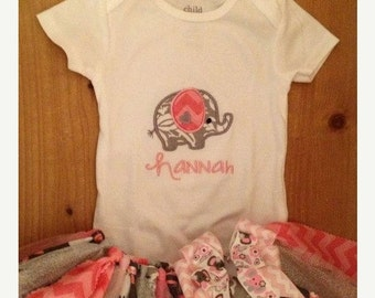 Pink and Grey Elephant Scrap Fabric Tutu Outfit