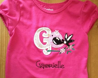 Pink, Black, and Silver Little Bird Initial Shirt or Baby Bodysuit
