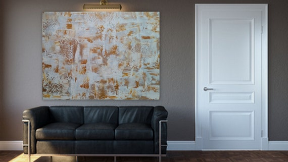 """Large abstract painting gold and white modern  by Marcy Chapman custom order ready to hang acrylic abstract 40 x 30 """"Have It Your Way"""""""