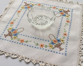 Vintage Hand-Embroidered Square Mat / Doilie with Flower Baskets