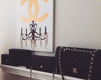 Chanel Chandelier (16x20) Fashion Art, Chanel Inspired, Pop Art, Chanel Painting, Chandelier Painting, Home Decor