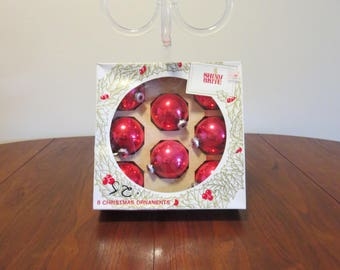 "Lot 8 vintage 1950s 1960s Shiny Brite red glass Christmas tree ornaments decorations original box 2 1/2"" diameter (52017cc)"