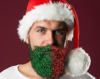 Dual Color Christmas Glitter Beard Kit Beard Glitter Organic Handpoured by Beard Basics