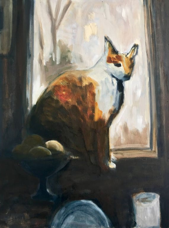 Original Oil Painting: Cat in the Window