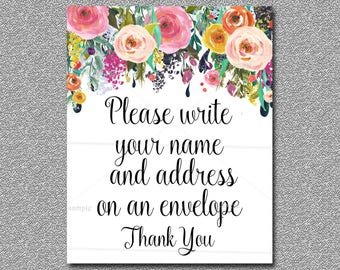 Floral Baby Shower Address Sign Printable, Boho Baby Shower Table Sign -  Address Envelope sign, INSTANT DOWNLOAD 020