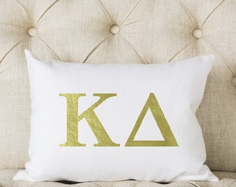 Kappa Delta Pillow | Metallic | Gold | Greek | Sorority