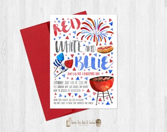 Red white and blue bbq invitation 4th of July Memorial Day Labor Day Bar-B-Que invites fireworks cookout printable file or prints summer