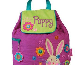 Personalised/ Stephen Joseph Quilted Backpack/ Children and Toddler Backpack/Rucksack/Nursery Bag/Nappy Bag/Bunny +FREE Keyring