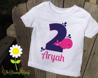 Personalized Whale Birthday Bodysuit - Pink Whale Infant One Piece - Birthday Personalized Bodysuit or T-Shirt - Custom Girl Birthday Outfit