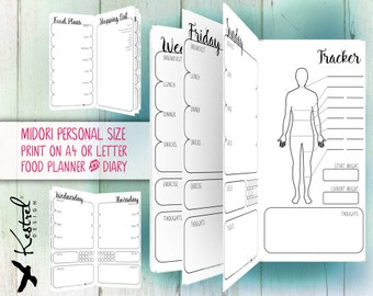 Printable Diet Planner & Diary - Midori Personal size 11cmx21cm - Kestrel Design DIY immediate download - Filofax or booklet -new year diet