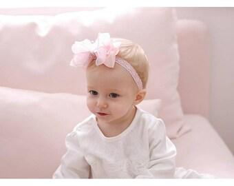 Chiffon Big Bow Babyband, Bridal Headband, Ribbon Baby Headband