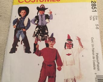 Mccalls cowboys and indians costume pattern size 5-6