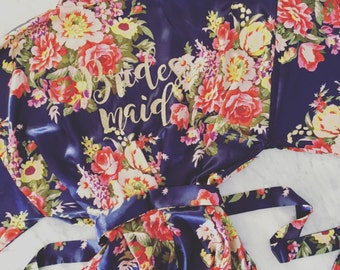 floral bridesmaid robes, personalized gold glitter matching robes, bridesmaid gift, MANY COLORS bridemaids robes, mothers day gift