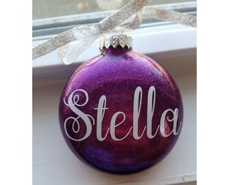 Glitter Name Christmas Ornament, Personalized Ornament,  Initial Ornament, Name Ornament, Monogram Glitter Ornament, Glitter Ornament, Gift