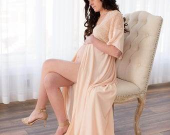 MATERNITY DRESS: photo shoot,  photograhy prop, robe, gown, sizes 4-20, plus size, one-size-fits-all, lace, lt. peach, floor length maxi