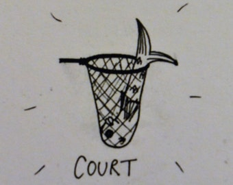 Illustrated Word Play 'Court/caught' greetings card.  Designed and signed by artist [EK!]
