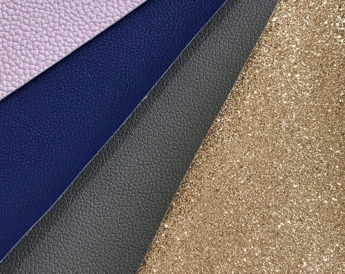 BULK 4 Pack Glitter and Leatherette Fabric Sheet A5 orA4 Size Pastel Purple Navy Grey Champagne Gold