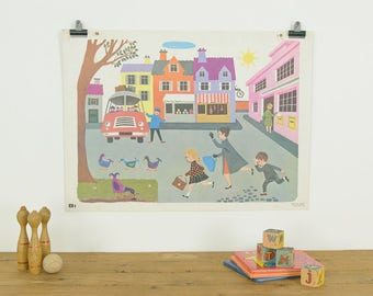Vintage 1966 Fernand Nathan French School Poster/Print