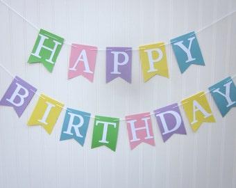Happy Birthday Banner - Birthday Banner, Photo prop ,Kid Birthday, Pastel Birthday Banner, Personalized Banner, Girl Banner