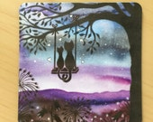 Magnet, Stars in the night sky, swing, trees, Moon,  romantic cats,  2 inches x 2 inches, rounded corners, fridge, list  Perfect Small Gift,