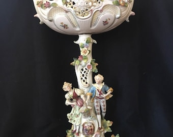 Fine 19th Century two part German Sitzendorf Porcelain Compote.