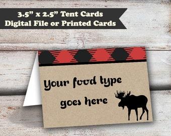 Lumberjack Tent Cards, 12 Lumberjack Food Cards, Lumberjack Party, Lumberjack Favors, Lumberjack Labels, Lumber Jack, Printed