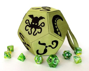 Green and Black Cthulhu Dice Small d12 bag - dice bag and miniature bag
