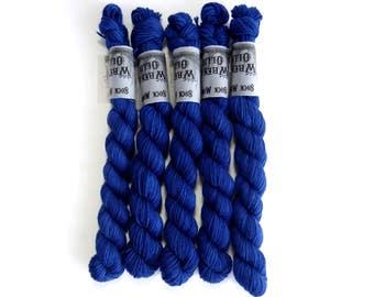 Sock Yarn Mini's Superwash Merino/Nylon 85/15 4ply Handdyed Yarn: SAPPHIRE