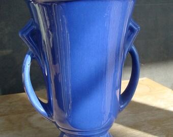 Reserved for Todd Pyka Vintage McCoy Art Pottery Vase With Cobalt Blue Glaze And Art Deco Handles USA