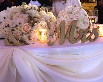 Pair Of Mr And Mrs Signs Sweetheart Table Decor Wedding Decoration Head Top