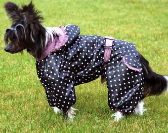 CUSTOM FIT!  Dog Raincoat. Dog Full Body Suit. Dog Jacket. Dog Overall. Custom Made Dog Apparel.