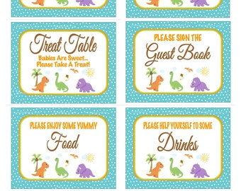 Dinosaur Baby Shower Sign Package, Printable Dino Shower Sign, Dino Table Sign, Dinosaur Theme Sign, Dino Baby Sign - Printables 4 Less 0099