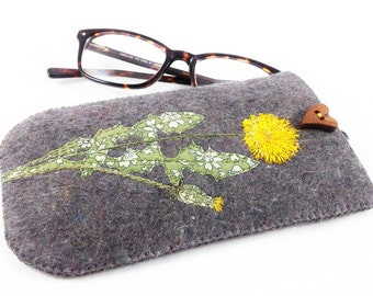 Glasses case, felt glasses case, spectacle case, embroidered glasses case, floral glasses case, gifts for her, gifts for mum, birthday gift