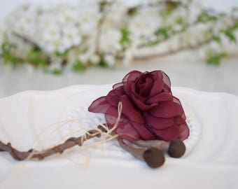 Rose  Boutonnieres,  Mens Wedding  Boutonniere, Burgundy Corsage Pin,Grooms Lapel, Buttonholes, Dark Red Brooch Pin