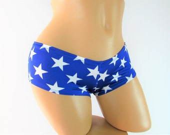 Blue and white Star print Shorts  Pinup Shorts booty shorts Ity Bity