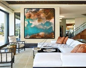 45inch, Coastal Wall Art, Watercolor Abstract Painting, Decor Beach, Contemporary Art, Print, Huge Wall Art, Large Painting, JuliaApostolova