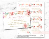 Floral Watercolor Diaper Raffle printable tickets, digital file, baby girl shower, floral blush pink tags, INSTANT DOWNLOAD, 003