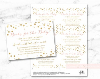 Gold glitter confetti baby shower book request cards printable, books for baby insert, bring a book instead of a card, INSTANT DOWNLOAD, 008